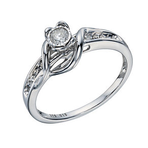 9ct White Gold 0.15 Carat Diamond Solitaire Wrap Ring - Product number 1675699