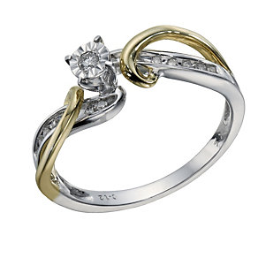 9ct Gold 2 Colour 0.12 Carat Diamond Illusion Solitaire Ring - Product number 1675834