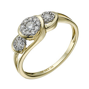 9ct Gold 1/4 Carat Diamond 3 Round Cluster Ring - Product number 1675966