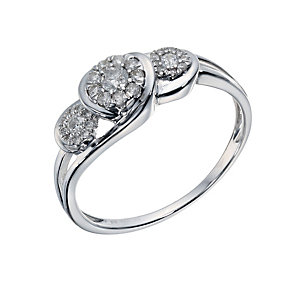 9ct White Gold 1/4 Carat Diamond Cluster Ring - Product number 1676105