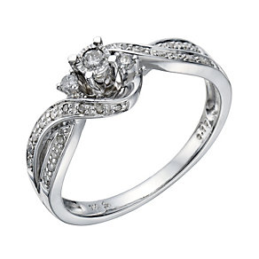 9ct White Gold 1/6 Carat Diamond Solitaire Ring - Product number 1676245