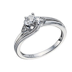 9ct White Gold 1/5 Carat Diamond Solitaire Twist Ring - Product number 1676407