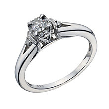 9ct White Gold 1/5 Carat Diamond Halo Solitaire Ring - Product number 1676547