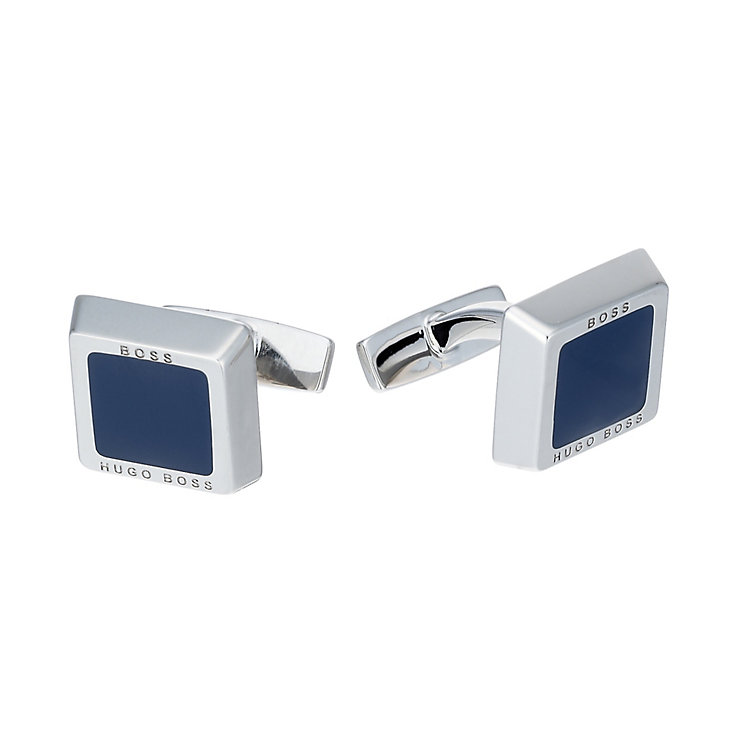 Hugo Boss Fran men's stainless steel navy square cufflinks - Product number 1676687
