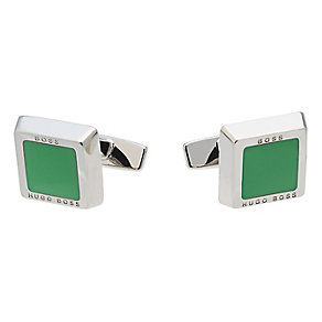 Hugo Boss Franzisko silver tone green square cufflinks - Product number 1677039