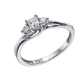 9ct White Gold 1/4 Carat Diamond Princess Cut Solitaire Ring - Product number 1677047