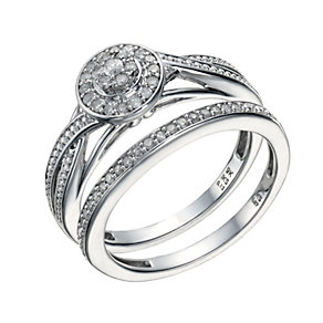 9ct White Gold 1/5 Carat Diamond Cluster Bridal Ring Set - Product number 1677373