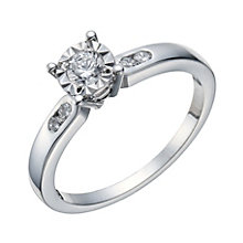 9ct White Gold 1/4 Carat Diamond Illusion Solitaire Ring - Product number 1677519