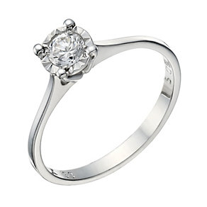 9ct White Gold 1/4 Carat Illusion Diamond Solitaire Ring - Product number 1677640