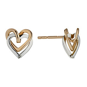 9ct white & rose gold double open heart stud earrings - Product number 1678442