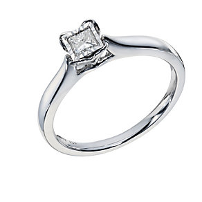 9ct White Gold 1/6 Carat Princess Cut Diamond Heart Ring - Product number 1678450
