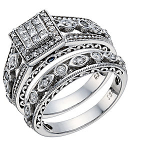 9ct White Gold 1/2 Carat Diamond Princessa Bridal Ring Set - Product number 1678582