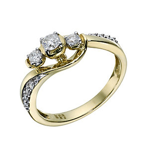 9ct Gold 1/3 Carat Diamond Trilogy Ring - Product number 1678728