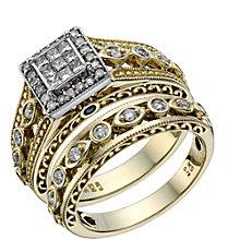9ct Gold & White Gold 1/2 Carat Diamond Bridal Ring Set - Product number 1678841