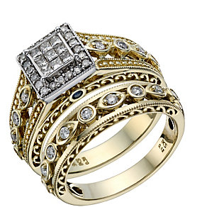 9ct Gold & White Gold 1/2 Carat Diamond Bridal Ring Set - Product number 1678841