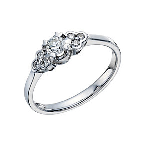 9ct White Gold 1/4 Carat Diamond Illusion Solitaire Ring - Product number 1678973