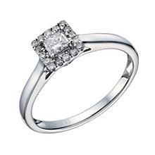 9ct White Gold 1/3 Carat Princess Cut Diamond Halo Ring - Product number 1679279
