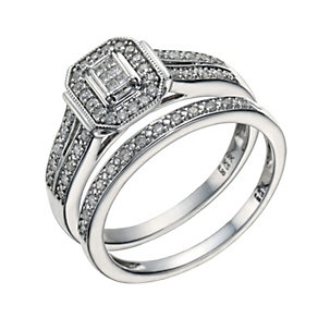 9ct White Gold 1/4 Carat Diamond Princess Cut Bridal Set - Product number 1679562