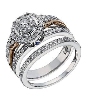 9ct White & Rose Gold 2/3 Carat Diamond Bridal Ring Set - Product number 1679694