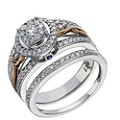 9ct White & Rose Gold 2/3 Carat Diamond Bridal Ring Set - Product number 1679694