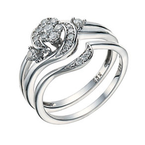 9ct White Gold 1/4 Carat Diamond Cluster Bridal Ring Set - Product number 1679821