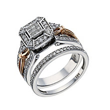 Perfect Fit Signature 9ct White & Rose Gold 1/2ct Bridal Set - Product number 1679953