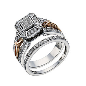 9ct White & Rose Gold 1/2 Carat Diamond Bridal Ring Set - Product number 1679953