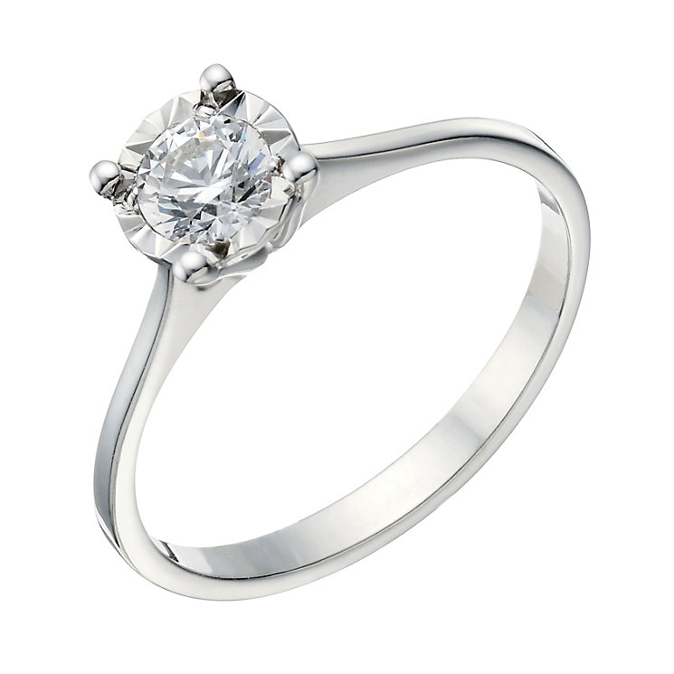 9ct White Gold 1/3 Carat Illusion Diamond Solitaire Ring - Product number 1680390