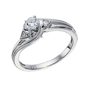 9ct White Gold 1/3 Carat Diamond Solitaire Twist Ring - Product number 1680536