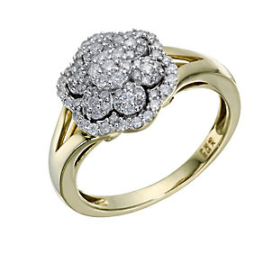 9ct Gold 2/5 Carat Diamond Flower Cluster Ring - Product number 1680781