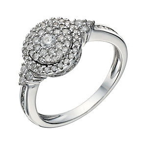 9ct White Gold 1/2 Carat Diamond Round Cluster Ring - Product number 1680927