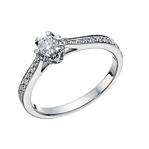 9ct White Gold 0.35 Carat Diamond Illusion Solitaire Ring - Product number 1681060
