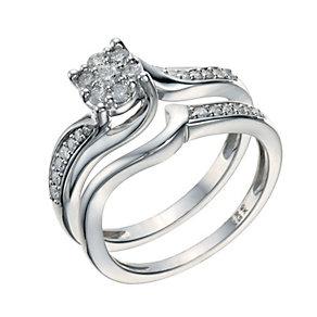 9ct White Gold 1/3 Carat Diamond Twist Bridal Ring Set - Product number 1681192