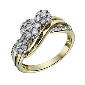 9ct Gold 1/2 Carat Diamond Trilogy Cluster Ring - Product number 1681338