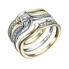 9ct Gold & White Gold 2/5 Carat Diamond 3 Bridal Ring Set - Product number 1681451