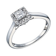9ct White Gold 1/2 Carat Princess Cut Diamond Halo Ring - Product number 1682415