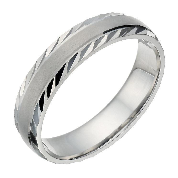 Palladium 500 Men's Matt & Polished Diamond Cut 5mm Ring - Product number 1683756