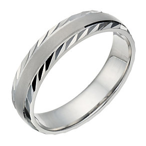 Palladium 500 Men's Matt & Polished Diamond Cut 5mm Ring - Product number 1683756
