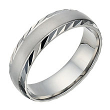 Palladium 500 Men S Matt Polished Diamond Cut 6mm Ring Product Number 1684205