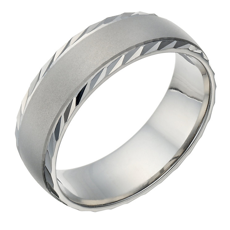 Palladium 500 Men's Matt & Polished Diamond Cut 7mm Ring - Product number 1684515