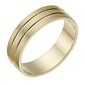 9ct Gold Men's Matt & Polished 2 Stripe 6mm Ring - Product number 1684957