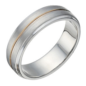 Sterling Silver & 9ct Rose Gold Matt & Polished 6mm Ring - Product number 1685961