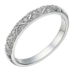 9ct White Gold 10 Point Diamond Patterned Ring - Product number 1686402