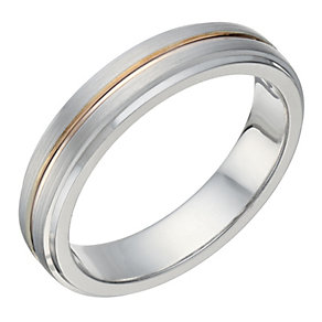 Sterling Silver & 9ct Rose Gold Matt & Polished 4mm Ring - Product number 1686542