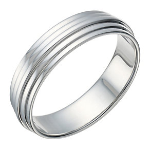 Sterling Silver Men's Groove 5.5mm Ring - Product number 1687093