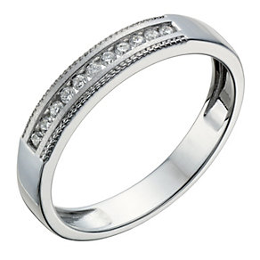 9ct White Gold 10 Point Diamond Matt & Milgrain Ring - Product number 1687425