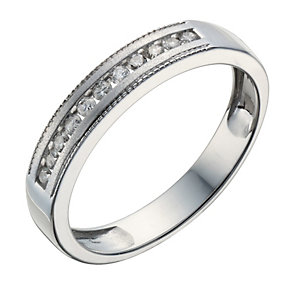 9ct White Gold 15 Point Diamond Matt & Milgrain Ring - Product number 1687867