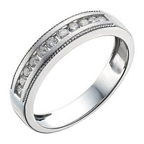 9ct White Gold 1/4 Carat Diamond Matt & Milgrain Ring - Product number 1688057