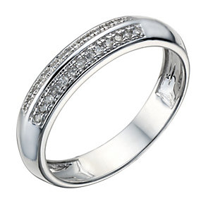 9ct White Gold 10 Point Diamond 2 Row Ring - Product number 1688227