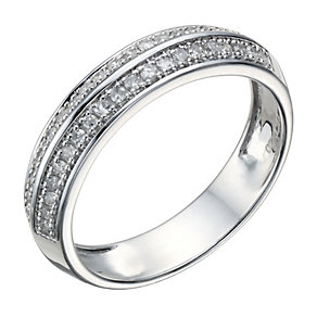 9ct White Gold 20 Point Diamond Two Row Ring - Product number 1688693